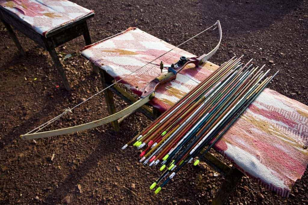 Close up of collection of archery arrows